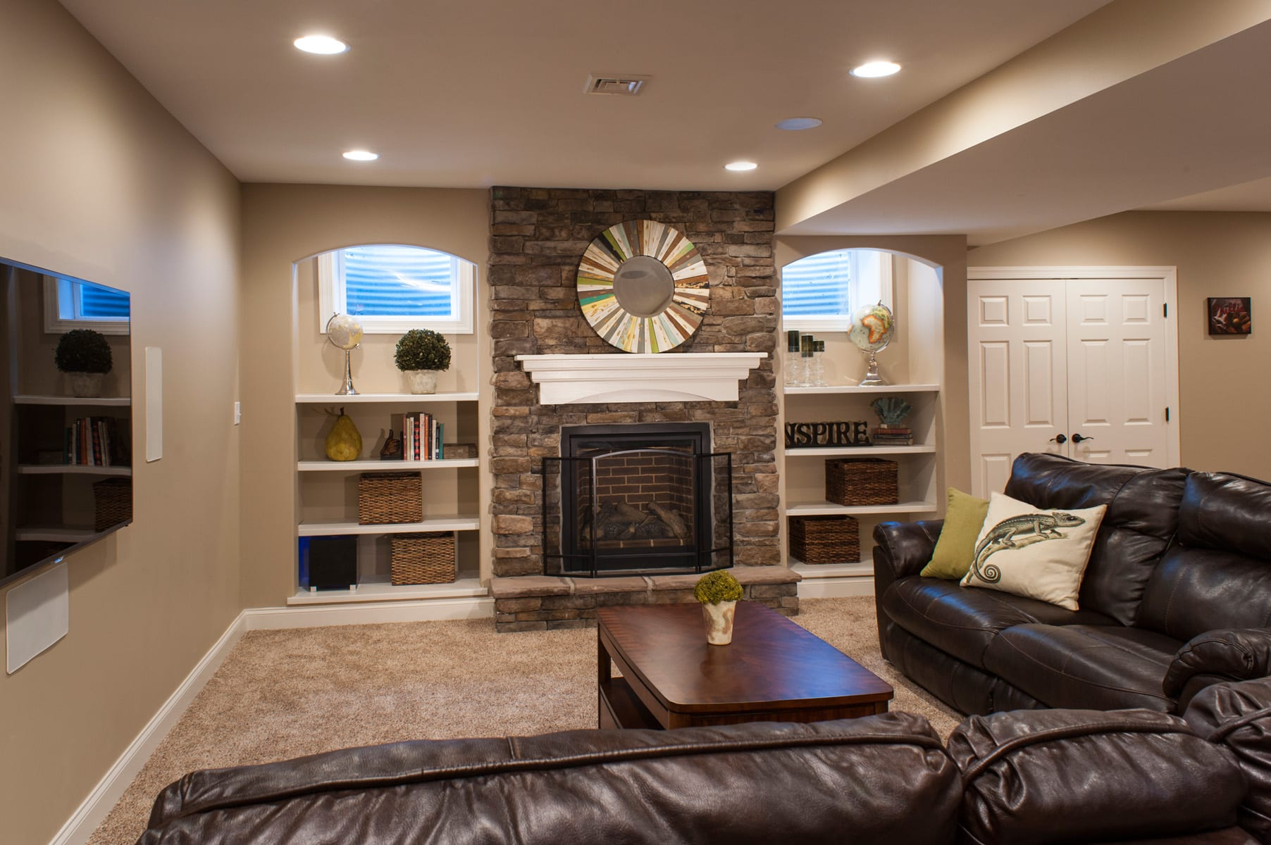 Basement remodeling photo gallery by foxbuilt inc Basement architect